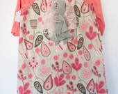 pink gray tan floral casual girls dress. ruffles on the front