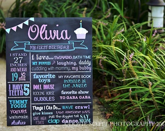 First Birthday Chalkboard of Favorite Things Poster Printable, Digital First Birthday Chalkboard Sign - 225