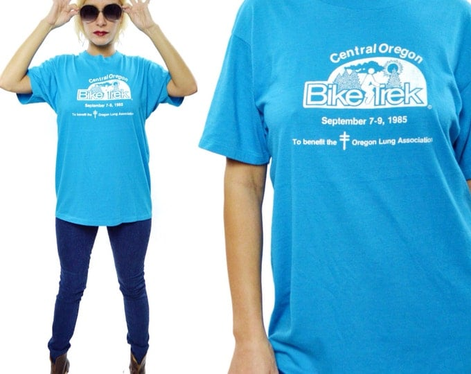 Vintage 80s Central Oregon Bike Trek 50/50 T Shirt Sz L