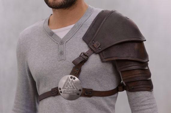 larp armor leather pauldron valknut odin 39 s symbol of. Black Bedroom Furniture Sets. Home Design Ideas