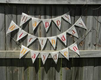 HAPPY BIRTHDAY BANNER, Birthday Decorations, Birthday Decor, Birthday Party Decorations, Custom Birthday Banner, Burlap Banner