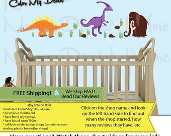 Dinosaur Stickers, Dino Wall Decals, Dinosaur Decals, Mini Mammoth Colorful (MINI_Stego52n55_Mm81_D3_33) DINO MMS