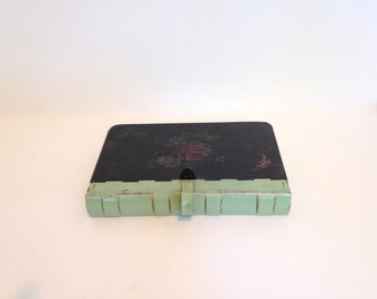 Vintage Silent Butler Crumb Catcher Mint Green With Black Painted Flowers Toleware Book Shape Cottage Decor Hinged Lid