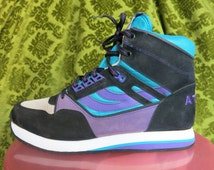 SALE Vtg 80s ATEMI skater hip hop funny walk on air SNEAKERs purple blue black sz eu 42  uk 8 us 8.5