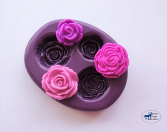 Rose Combo Flower Mold/Mould -  Flexible Silicone Molds - Polymer Clay Resin Fondant