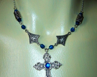 Silver and blue cross goth necklace