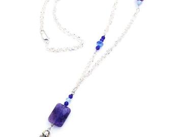 Purple Amethyst Tassel Necklace in Silver