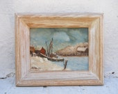 Nautical Oil Painting on Artist Board Signed by Artist HF Kneff. Winter In The Cove
