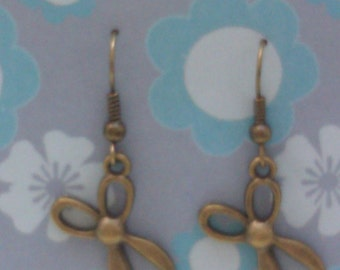 Cute scissors earrings, brass scissors earrings