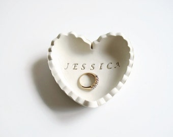 Unique Personalized Wedding Gift Ring Dish - Gift for Bride - Bridesmaid Gift - Heart Ring Holder Dish - Gift for her - Gift for Girlfriend