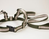 Child Harness. Baby & Toddler harness, walking lead.Cotton webbing leash. Olive green webbing and Soft Brown Ribbon.