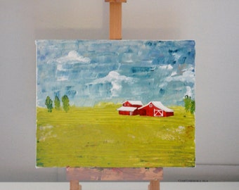 A Day on the Farm - ORIGINAL Acrylic Painting   Red Barn on a summer day