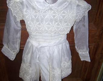 L'Enfant  Sheer Children's Dress Eyelet Lace C. 1960's