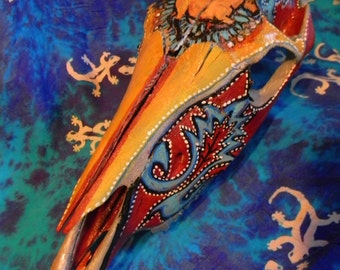one of a kind painted horse skull bone cowboy indian jewelry