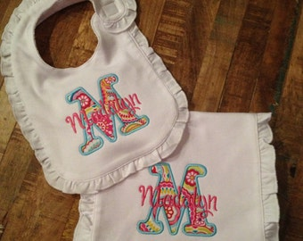 Bib/ Burp cloth set with applique initial and name