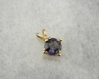 Soft Plum Purple Spinel Gemstone in Classical Gold Pendant ER6K5K-N