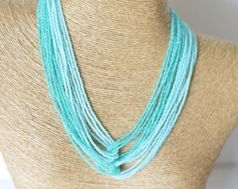 Ombre turquoise necklace, teal necklace, aqua necklace,mint necklace,statement necklace,bridesmaid turquoise necklace,seed bead necklace