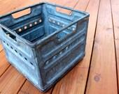 Rare Vintage 1960s Metal Milk Crate by Pure Milk Co. in Waco, TX