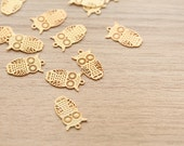 10 pcs of Owl Brass Computer Beaded Patch Pendants - Gold - 16.5 x 9 x 0.5 mm