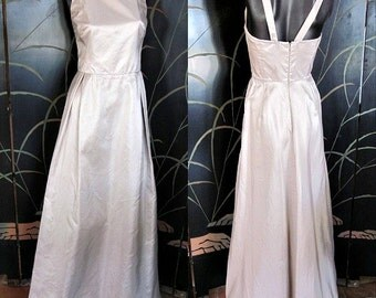MAXMARA Silver Gown Maxi Dress / Pianoforte made in Italy / fits XS / Bridal Wedding