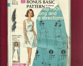 Vintage 1967 Simplicity  7506 Fitting Shell Pattern A Line Dress with Jewel Neckline Size 14