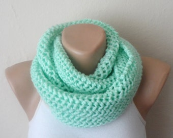 mint green knit infinity scarf circle scarf winter scarf loop scarf knit scarf handmade scarf womens scarves gift for her