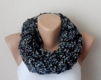 black blue knit infinity scarf  multicolor scarf mealy circle scarf