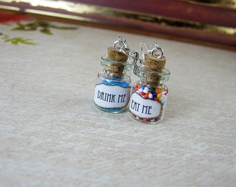 Drink Me & Eat Me Alice in Wonderland Bottle Necklace Charm - Vial Earring Set - 0.5ml - Halloween Fairy Tale