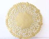 "Metallic Gold Doily - Lace  Paper 6"" Doilies - Wedding Decoration, Vintage Wedding, Lace Doilies, Bridal Showers, Gold Wedding"