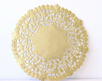 "Metallic Gold Doily - Lace  Paper 6"" Doilies - Wedding Decoration, Vintage Wedding, Lace Doilies, Bridal Showers, Gold Wedding"