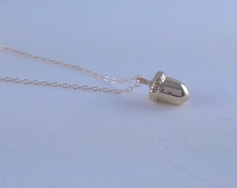 Tiny Gold Acorn Necklace- Little Gold Acorn- 14k Gold Filled chain
