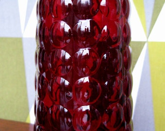 Beautiful Vintage Ruby Red Bubble Vase... Anchor Hocking