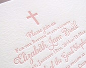 Letterpress Baptism, Christening, Communion Invitations - 25 flat cards - 1 color  Custom, modern, traditional, classic, cross, script BA111