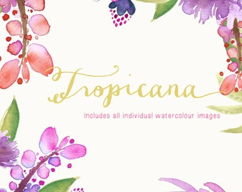 Watercolour Hand Painted Clip Art with Vintage Image - Tropicana