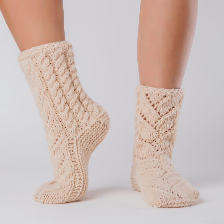 Wool Slippers Handknit Wool Socks Warm Soft Tall Knitted