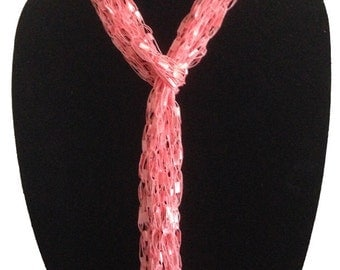 Hand Woven Ladder Yarn Necklace Featuring Multiple Ways to Wear #1073