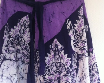 10 DOLLAR SALE!! Purple and white boho ethnic batik wrap skirt size xs-l