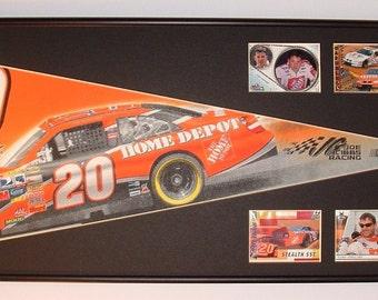 Vintage NASCAR driver #20, Tony Stewart, Home Depot pennant & cards...Custom Framed!