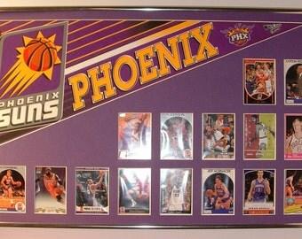 Phoenix Suns Basketball Pennant & Cards Retrospective...Custom Framed