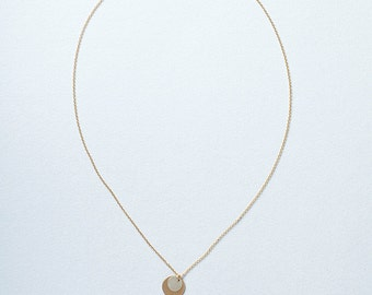 Solar Eclipse Necklace, Silver and Gold layered disc necklace, disc necklace, circle necklace