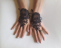 Black tulle lace glove embroidery bridal  wedding fingerless burlesque body tattoo romantic bridesmaid glove