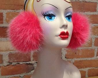 Faux Fur Earmuffs - Plush Pink and White Coyote Faux Fur Earmuffs