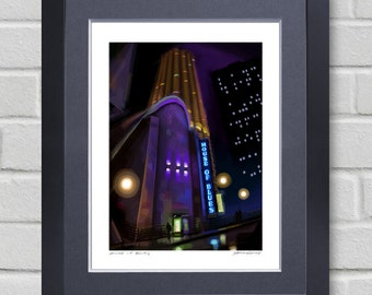 Chicago art - House of Blues - Painting of night scene