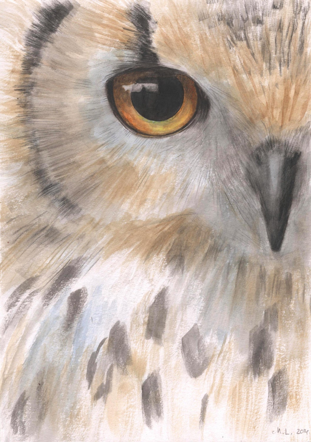 Owl painting owl eyes painting original watercolor painting for Night owl paint color