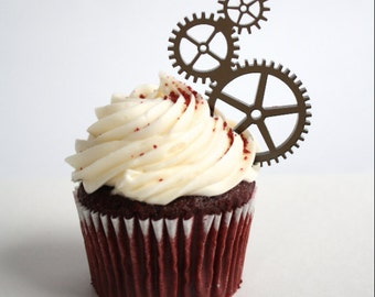 6 Steampunk Gear Cupcake Toppers (Acrylic)