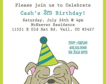 Bulldog Birthday Invitation