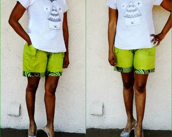 Green And Olive Trim African Bazin Shorts , African print shorts, African Print Summer Shorts, African Tribal Shorts