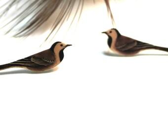 Wagtail earrings, bird earrings, stud earrings, long tail bird earrings, post earrings, vintage inspired earrings, earrings