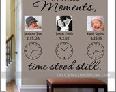 In These Moments Time Stood Still, Personalized Wall Decal, Family Wall Decal, Clock Wall Decal, Vinyl Lettering Wall Decal