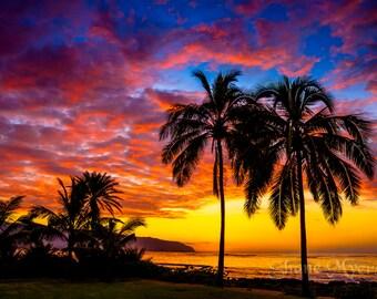 "Beautiful Hawaiian Sunset Fine Art Print titled ""Paradise"" printed on Aluminum Metal or Canvas"